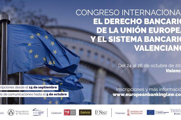"""ACTUALIZACIÓN: Congreso Internacional """"El derecho bancario de la Unión Europea y el sistema bancario valenciano"""""""