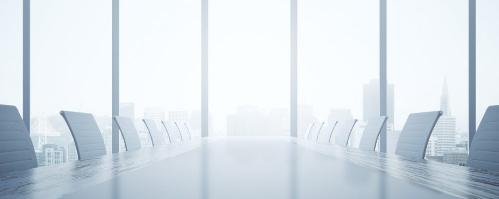 Closeup of shiny light table and chairs in conferece room interior with city view and daylight. 3D Rendering