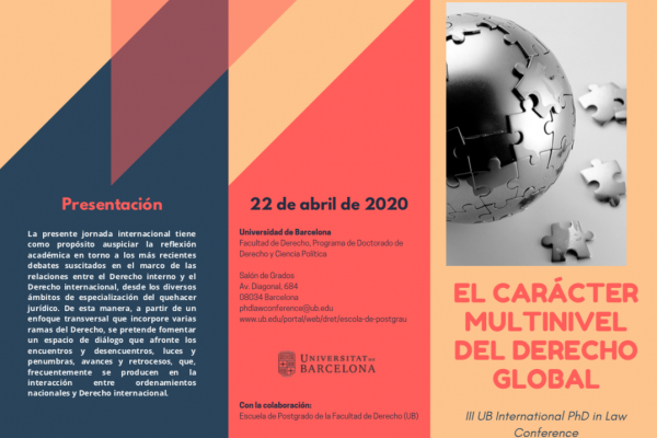 Conferencia en UB Barcelona: El carácter multinivel del derecho global